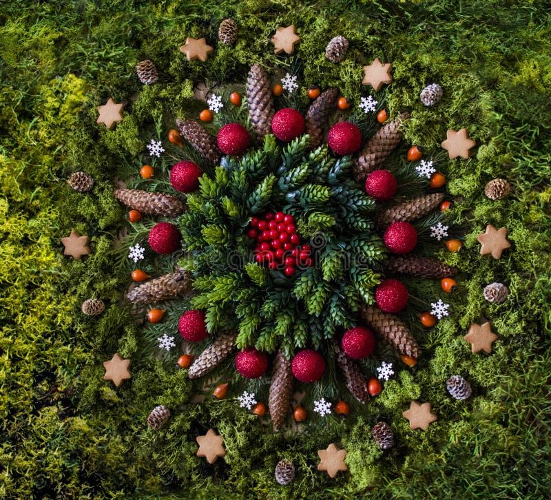 Christmas mandala with nature elements royalty free stock photos