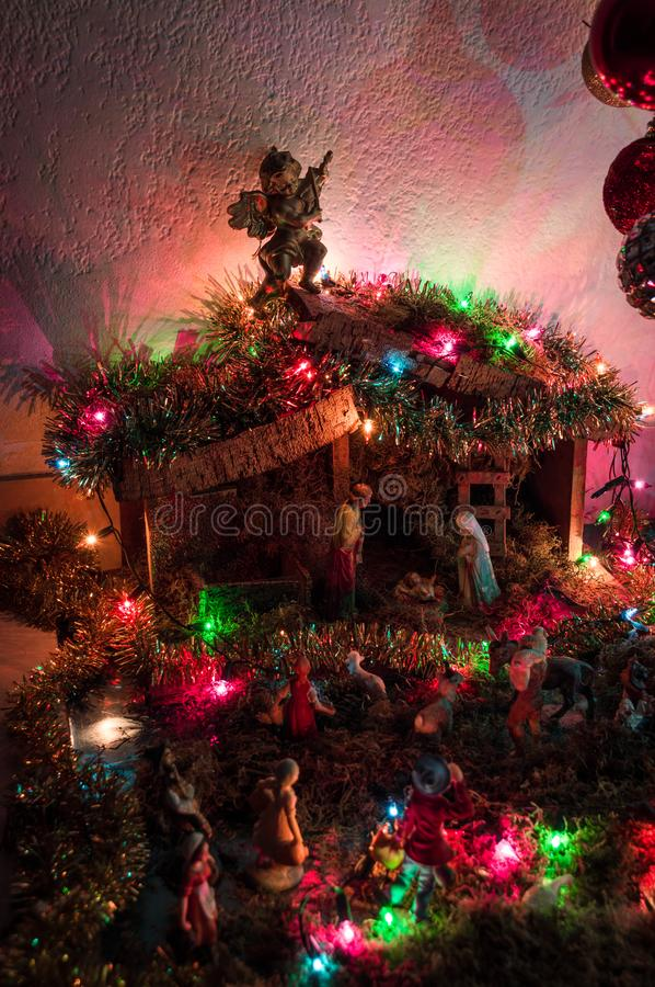 Christmas manger with lights at home royalty free stock photo