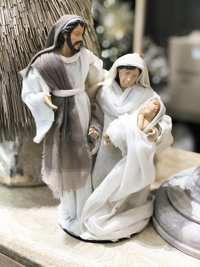 Christmas Manger scene with figurines including Jesus, Mary, Joseph. Christmas Manger scene with figurines including Jesus Mary Joseph stock images