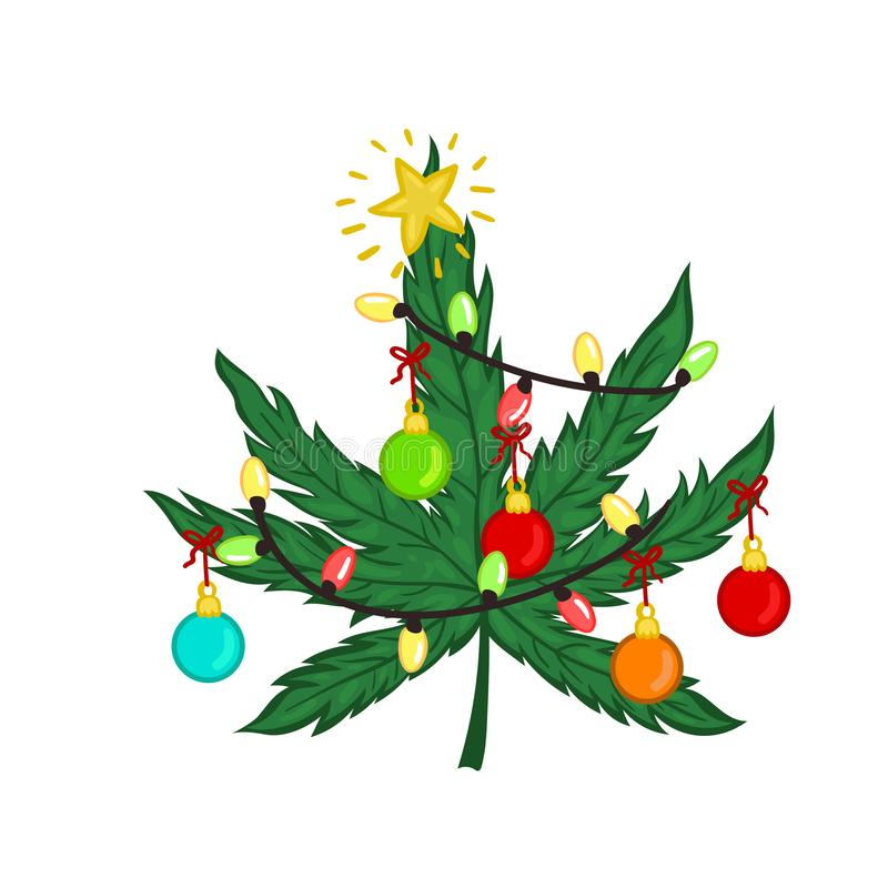 Free Christmas Marijuana Decorated With Christmas Toys Isolated On White Background. Vector Graphics Royalty Free Stock Photos - 166009348
