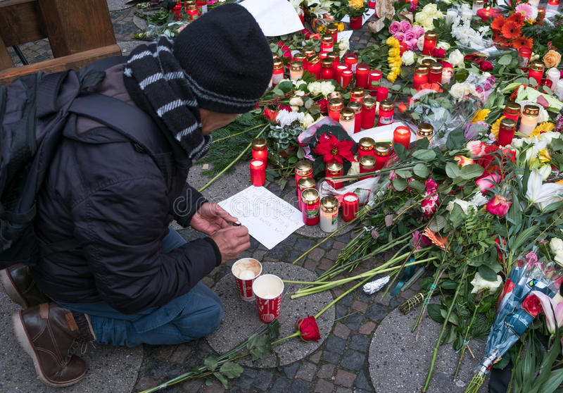 The Christmas Market in Berlin, the day after the terrorist attack stock photography