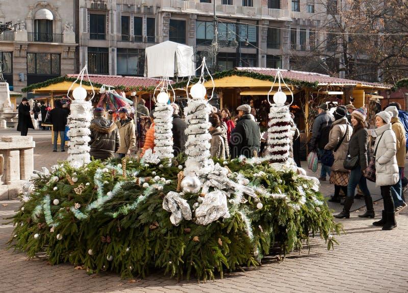 Christmas market in Budapest stock photos