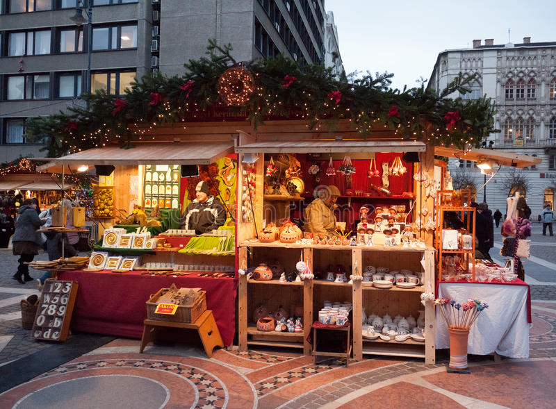 Christmas market in Budapest royalty free stock images