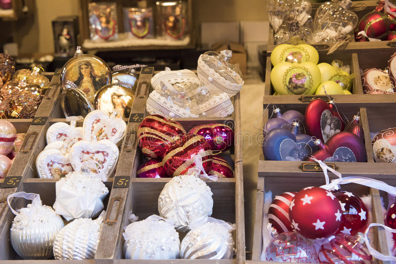 Christmas tree decoration. Christmas decoration on Christmas market stall in Duesseldorf, Germany stock photography