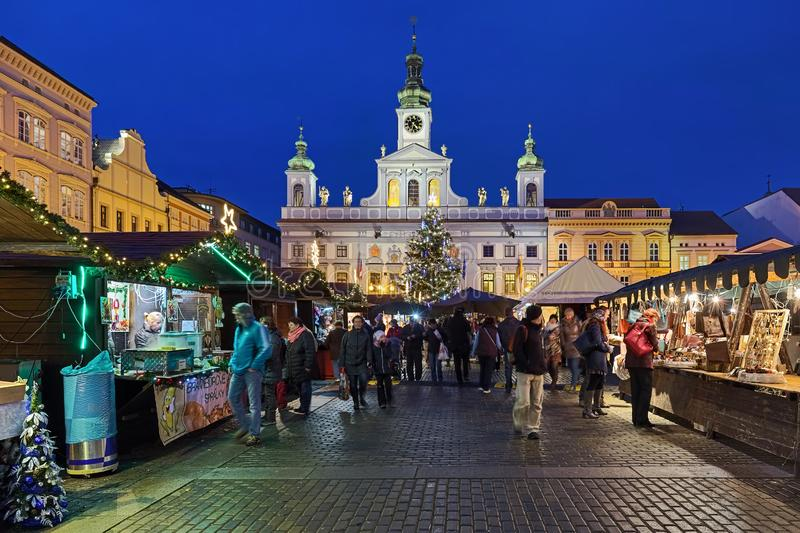 Christmas market in Ceske Budejovice, Czech Republic. Ceske Budejovice, Czech Republic. Christmas market at the Premysl Otakar II Square with city`s main royalty free stock photos