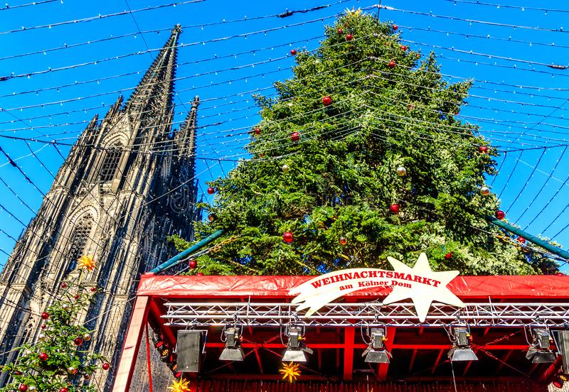 Christmas Market at Cologne Cathedral, Germany royalty free stock photography