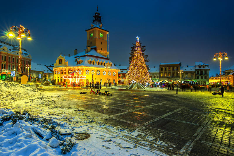 Christmas market with decorated tree in the city center,Brasov royalty free stock photography