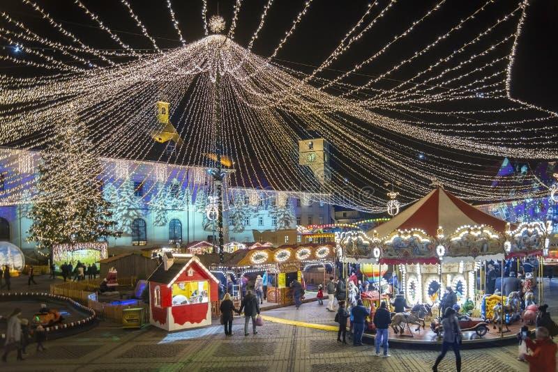 Christmas market in Sibiu, Romania stock photography