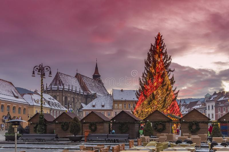 Christmas market and decorations tree of Brasov town, Transylvania, Romania royalty free stock image