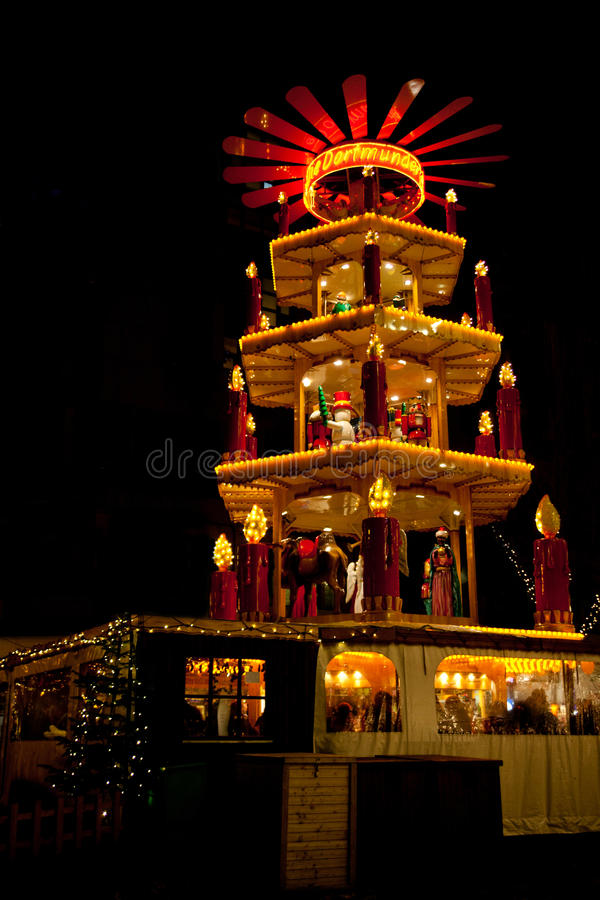 Christmas market in Dortmund, Germany, with pyramid. Christmas market in Dortmund, Germany, North Rhine Westphalia, with pyramid stock photo