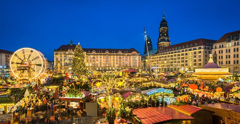 Christmas market in Dresden, Germany. At night royalty free stock photos