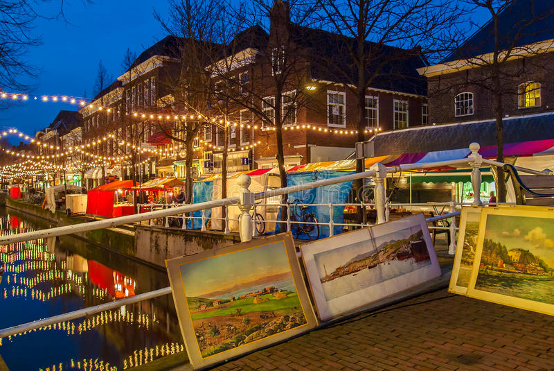 Christmas market in the Dutch city of Delft royalty free stock photography