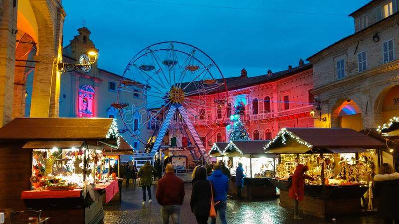 Christmas market and ferris wheel in the main square of Fermo, Marche stock photo