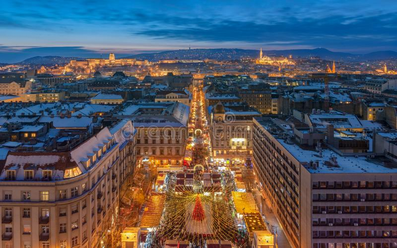 Christmas market in the front of St Stephen Basilica Budapest. The most beautiful european Christmas market in 2019 royalty free stock images