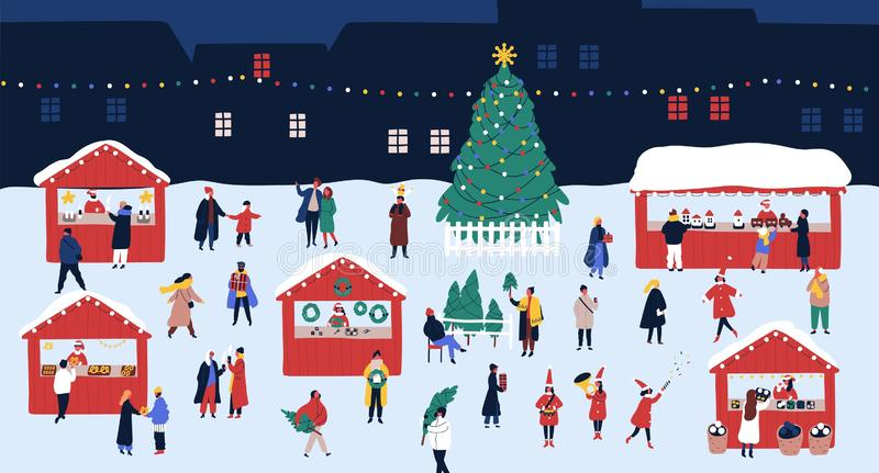 Christmas market or holiday outdoor fair on town square. People walking between decorated stalls or kiosks, buying vector illustration