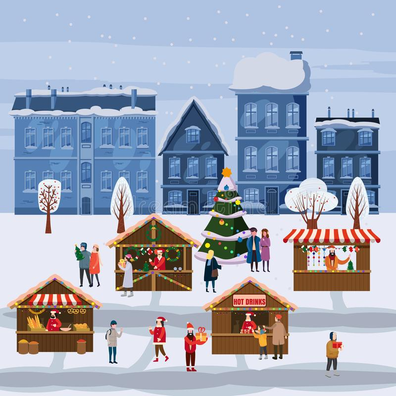Christmas market or holiday outdoor fair on town square. Christmas tree. People walking between decorated stalls, canopy vector illustration