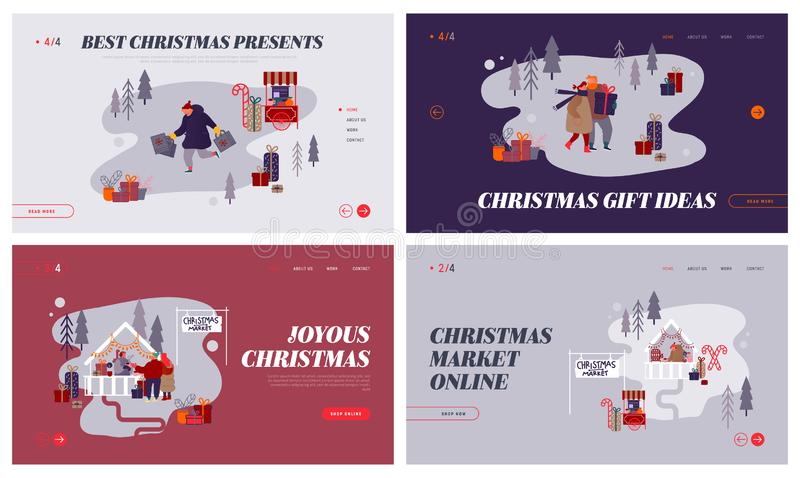 Christmas Market Internet advertisement. Set of Landing pages with People characters doing shopping on Xmas fair. Buying festive gifts for New Year Party vector illustration