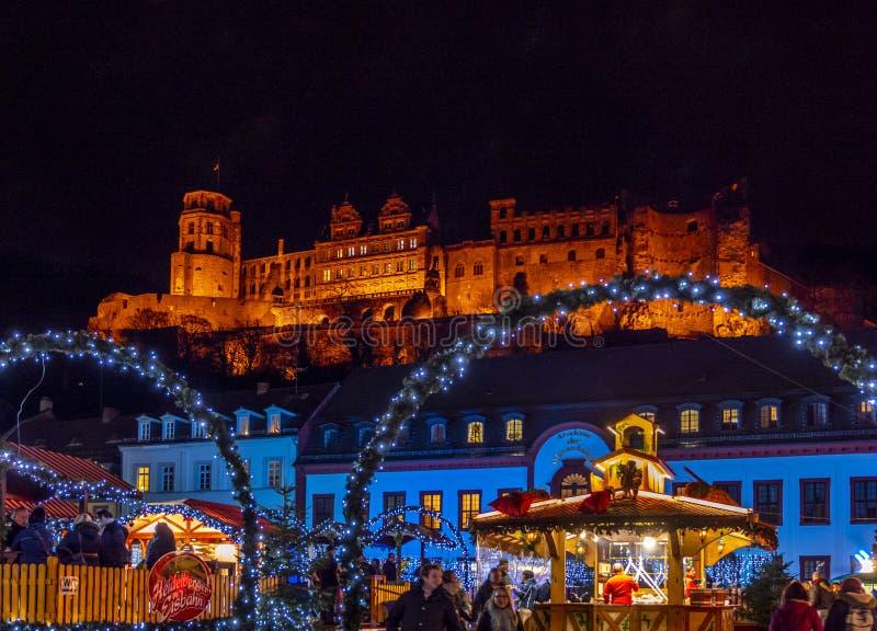 Christmas market at the Karlsplatz in Heidelberg, Baden-Wurttemberg, Germany royalty free stock photo