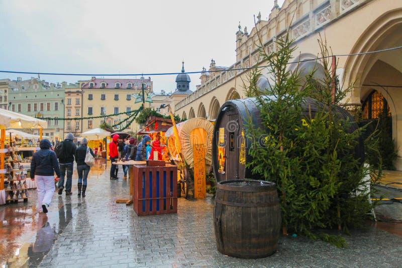 Christmas market in Krakow stock photo