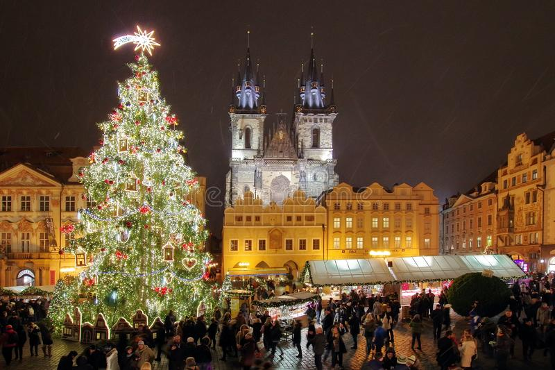 Christmas Market and lights of night in Prague, in 2016. Old Town Square and Gothic Church of Our Lady before Tyn royalty free stock images