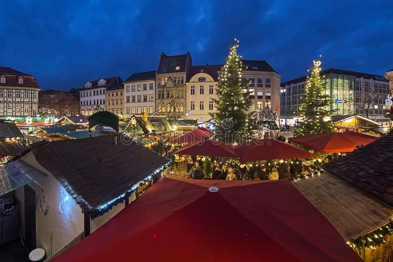 Christmas market at Market Square of Gottingen, Germany royalty free stock photos
