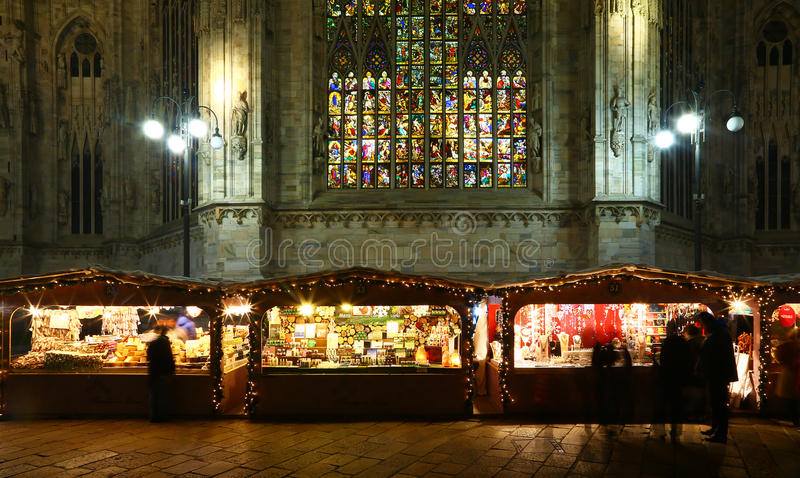 Christmas market in Milan royalty free stock photo