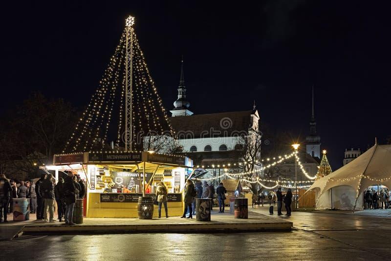Christmas market on Moravian Square in Brno, Czech Republic stock photos