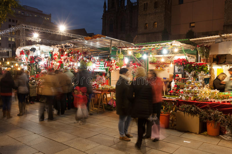 Christmas market near Cathedral in evening stock photos