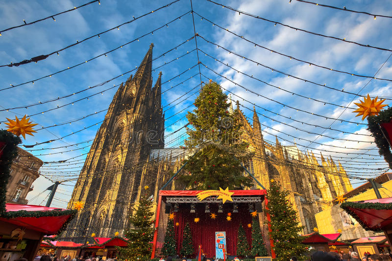 Christmas market near the Dom church in Cologne Germany. In the evening sun stock images