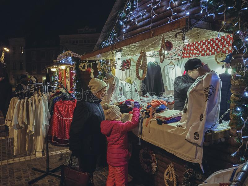Christmas market at night, Brasov, Romania royalty free stock images