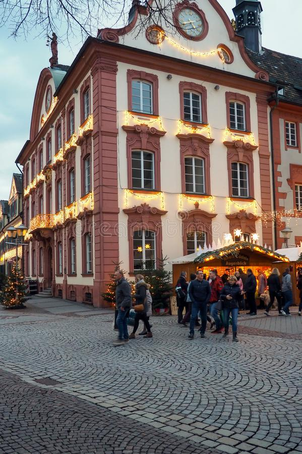 Christmas market in Offenburg, Germany. View o a Christmas market in Offenburg, Germany. Offenburg is a city located in the state of Baden-Württemberg royalty free stock photography
