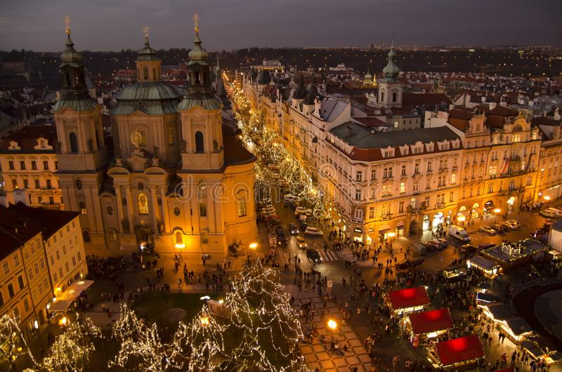 Christmas market in Old Town Square in Prague royalty free stock photos