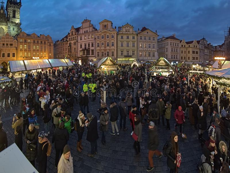 Christmas market at Old Town Square of Prague, Czech Republic stock photos