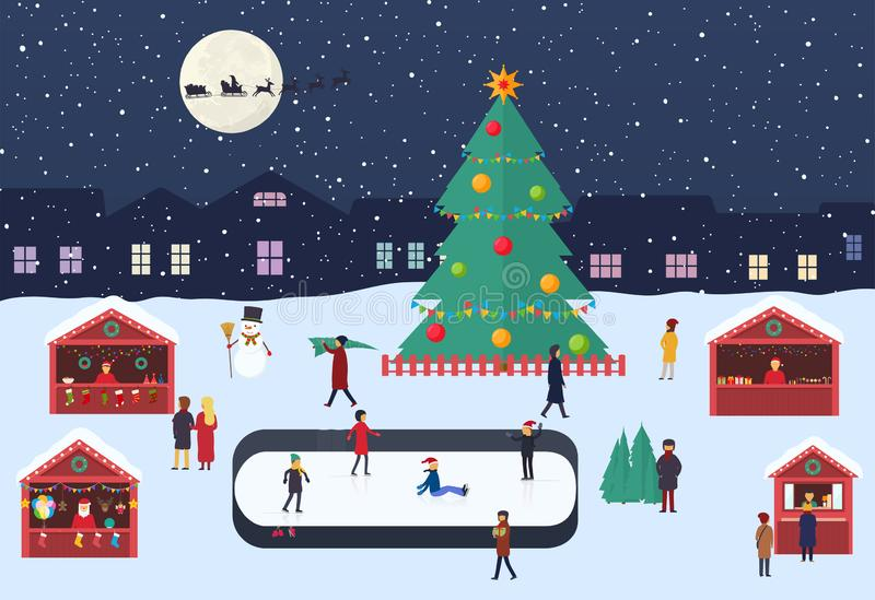 Christmas market with people, souvenir stalls, ice rink and christmas tree on evening city square. Festive winter shopping. royalty free illustration