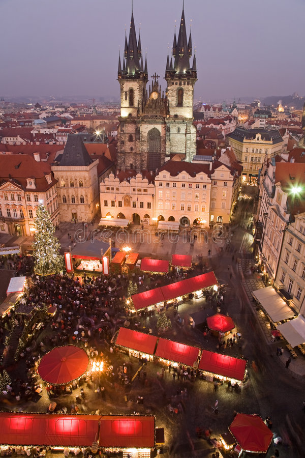 Christmas market in Prague stock images