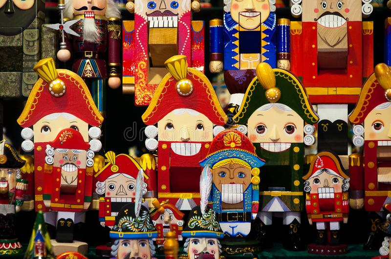 Christmas Market in Red Square, Moscow. Sale of toys, famous and popular fairy-tale characters, figurines. Nutcracker.  royalty free stock images