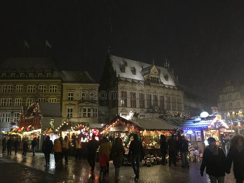 Christmas market Scene in Bremen royalty free stock images