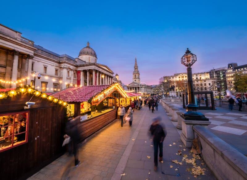 Christmas market scene in Trafalgar square in London stock photos