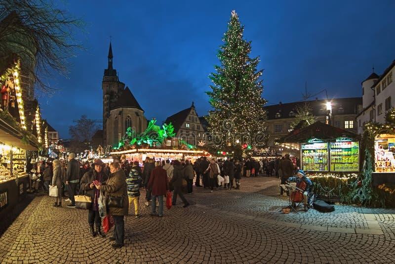 Christmas market at Schillerplatz square in Stuttgart, Germany stock image