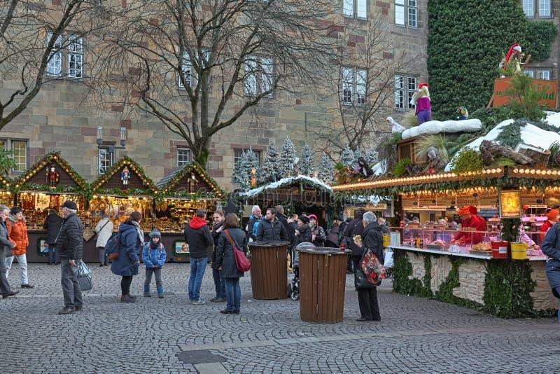 Christmas market at Schillerplatz square in Stuttgart, Germany royalty free stock photos