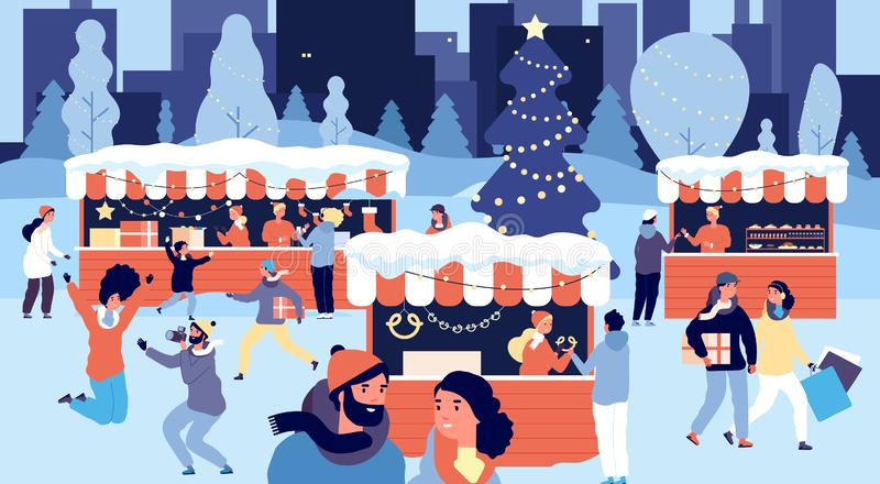 Christmas market. Smiling people with gift boxes on xmas fair. Shopping crowd buys goods on city street. Winter holiday. Vector concept. Street traditional vector illustration