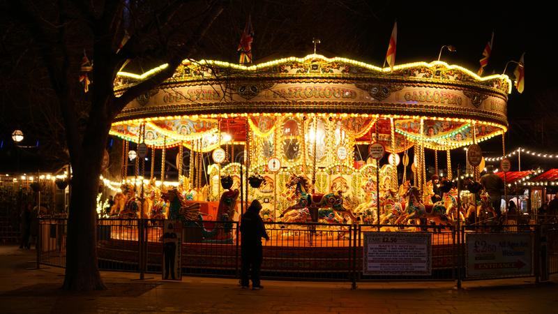 Christmas Market at Southbank with carousel in London, United Kingdom.  royalty free stock image