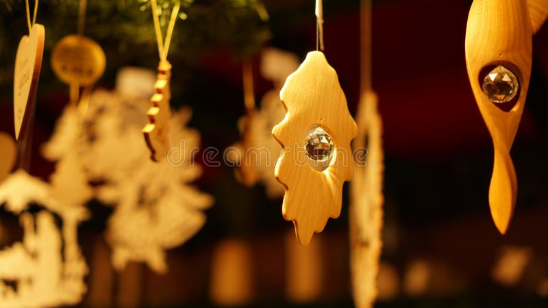 Christmas Market at Southbank Centre Winter Market with wooden Christmas ornaments in London, United Kingdom.  royalty free stock image