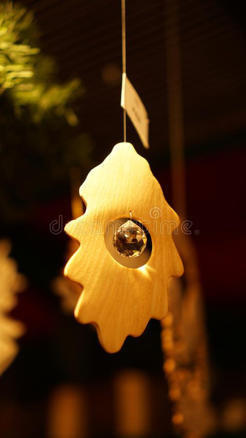 Christmas Market at Southbank Centre Winter Market with wooden Christmas ornaments in London, United Kingdom.  stock photo