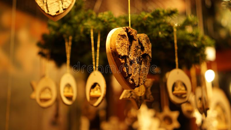 Christmas Market at Southbank Centre Winter Market with wooden Christmas ornaments in London, United Kingdom.  stock photography