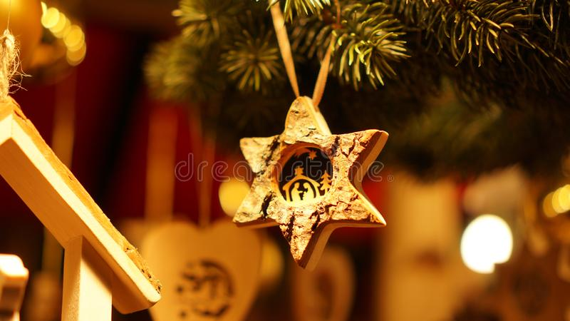 Christmas Market at Southbank Centre Winter Market with wooden Christmas ornaments in London, United Kingdom.  stock images