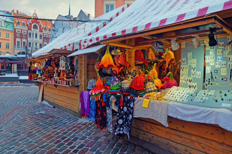 Christmas market stall in Riga with lovely souvenirs displayed f royalty free stock images