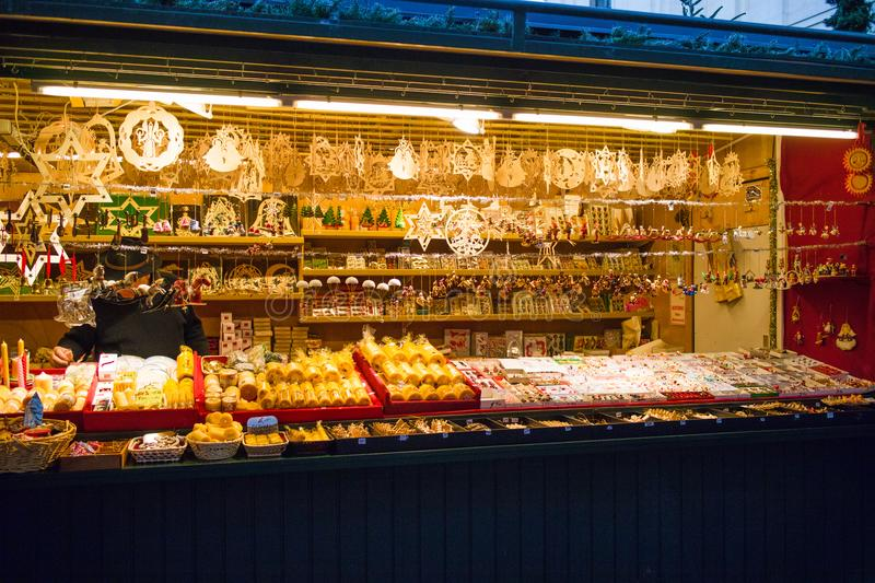 Christmas market stalls with gifts and souvenirs for sale, Salzburg, Austria. Christmas market stalls with gifts and souvenirs for sale, Salzburg royalty free stock image