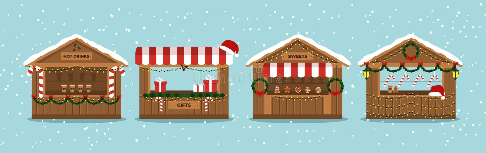 Christmas Market Stalls. Outdoor festival stand. Kiosks. Souvenir kiosk. Winter. Vector. Christmas Market Stalls. Outdoor festival stand. Kiosks. Souvenir kiosk vector illustration