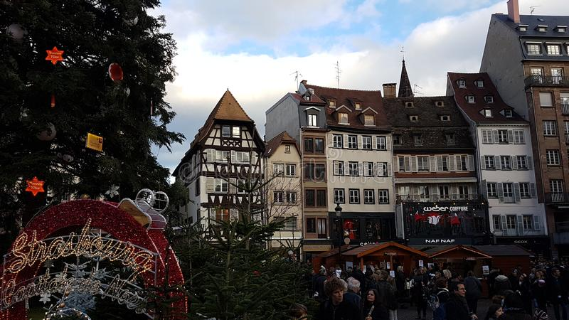 Christmas market in Strasbourg stock photo